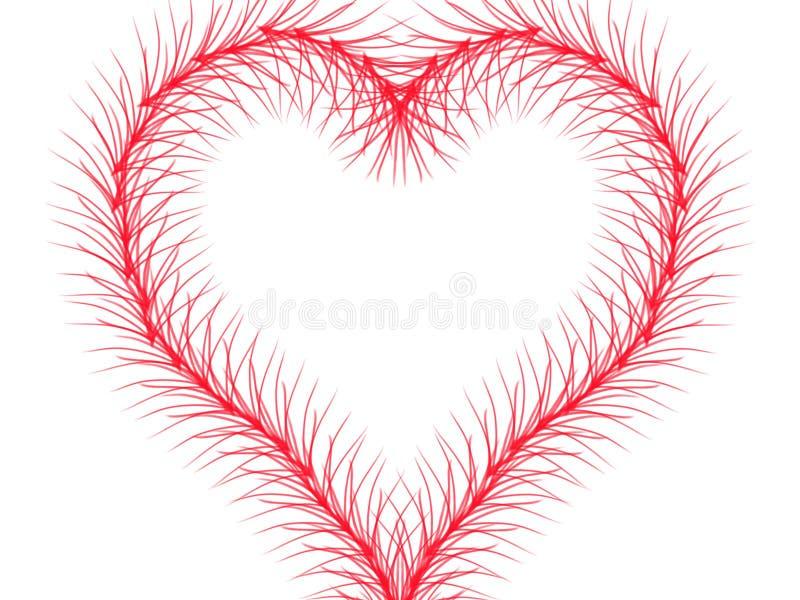 与画的肢体的红线是在被隔绝的白色背景的心脏 皇族释放例证
