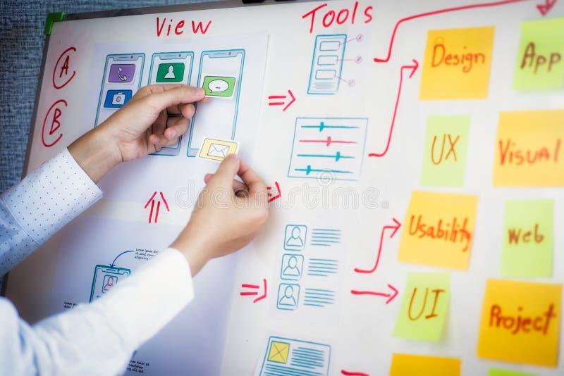与略图的年轻创造性的图表计划开发在办公室的应用的 用户经验设计观念 库存照片