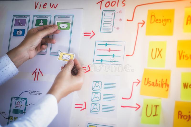与略图的年轻创造性的图表计划开发在办公室的应用的 用户经验设计观念 库存图片