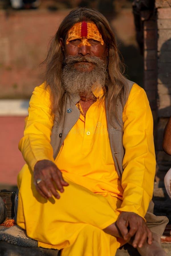 与番红花黄色棉花长的衬衣,Pashupatinath寺庙的Saddhu 免版税图库摄影