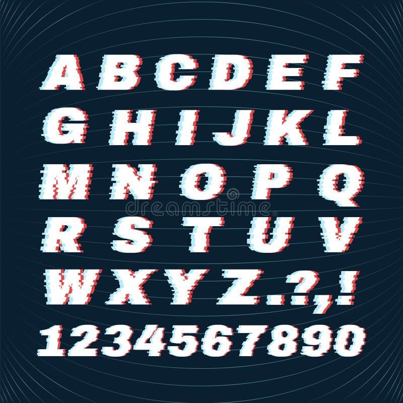 与畸变作用的小故障字体 损毁字母表 您的商标的概念 皇族释放例证