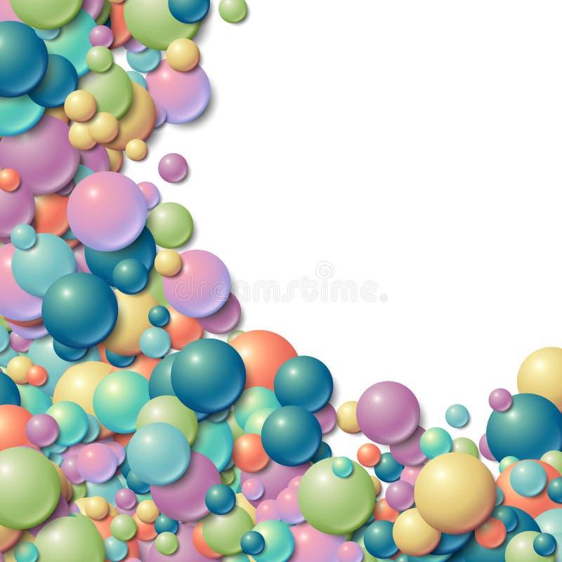 与疏散杂乱发光的橡胶球的背景框架 向量例证