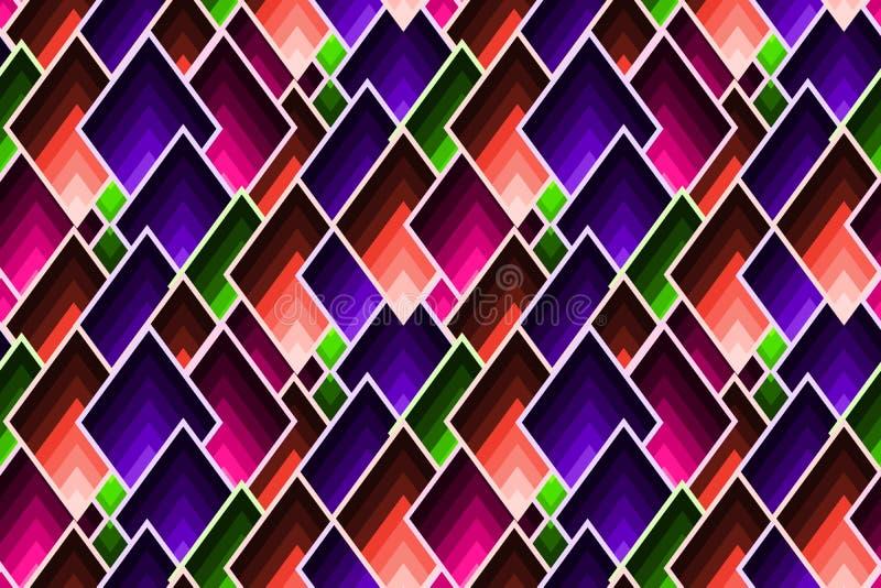 与疏散马赛克锭剂的抽象几何样式在时髦颜色 皇族释放例证