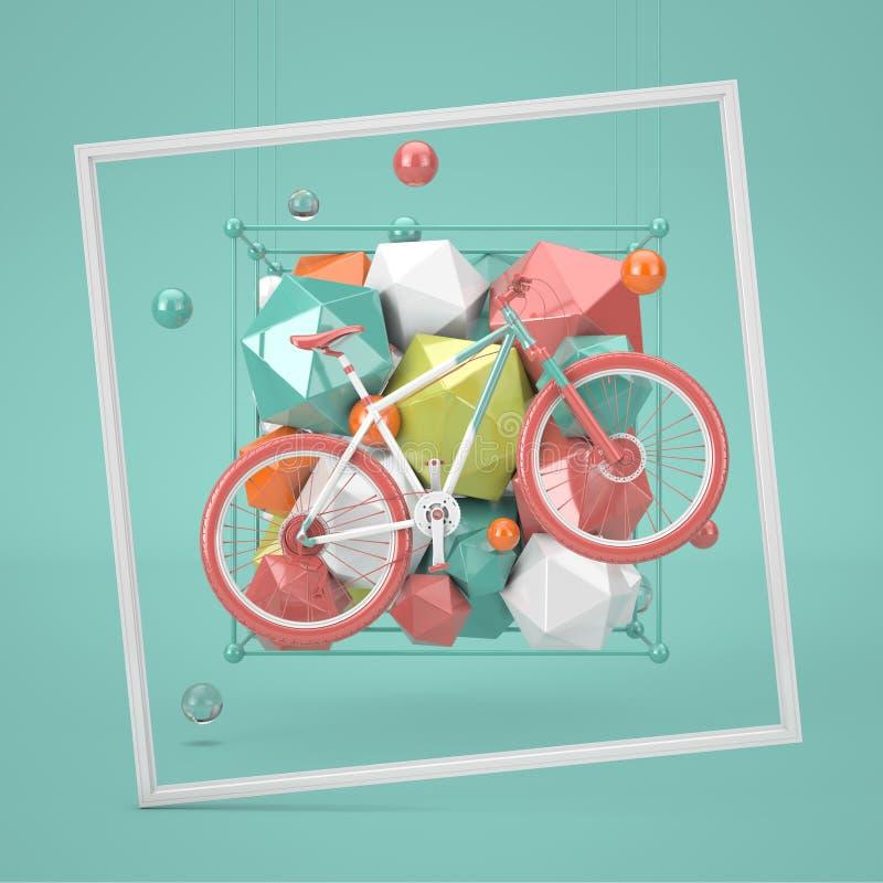 与登山车体育概念场面的装饰摘要几何形状 3d翻译 库存例证