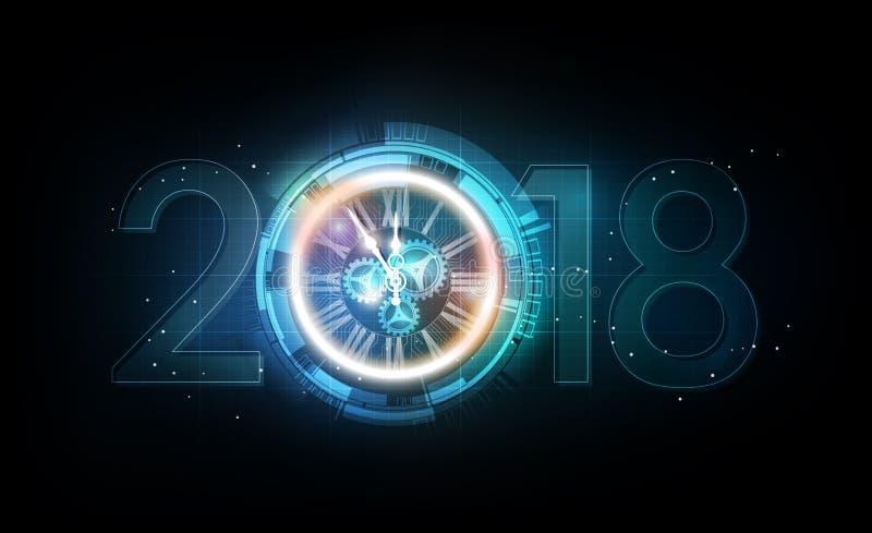 与白光摘要时钟的新年快乐2018年庆祝在未来派技术背景,传染媒介例证 库存例证