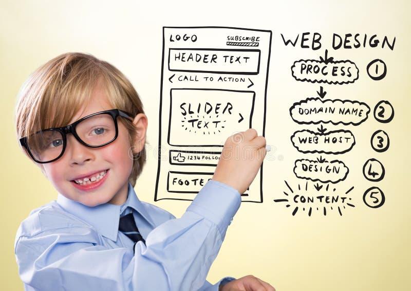 与白垩和网站嘲笑的孩子反对黄色背景 免版税库存照片