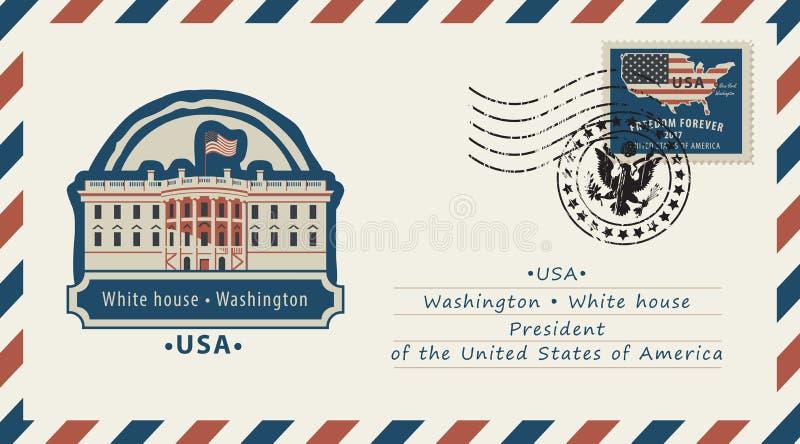 与白宫和美国国旗的信封 皇族释放例证