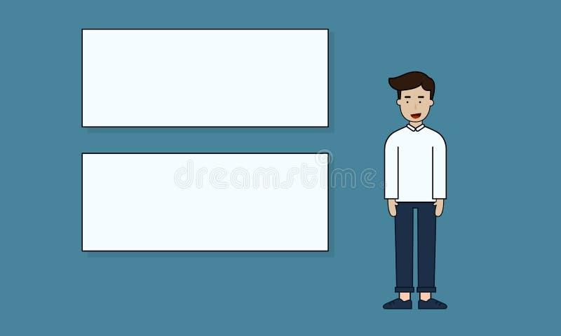 与白板介绍的人立场 向量例证