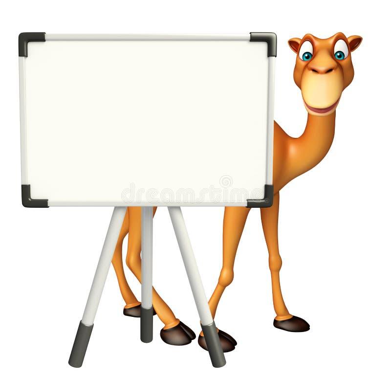 与白板的逗人喜爱的骆驼漫画人物 向量例证