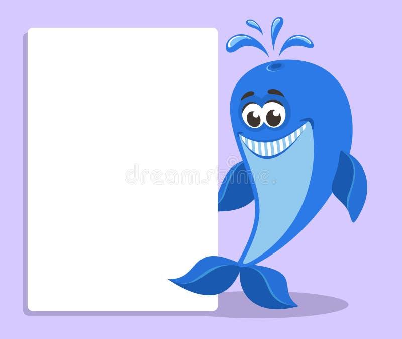 与白横幅或委员会的滑稽的蓝鲸 向量例证