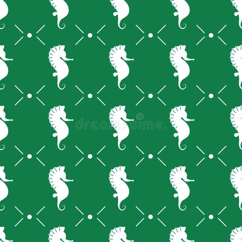 与白海马的传染媒介无缝的样式在深绿背景 向量例证