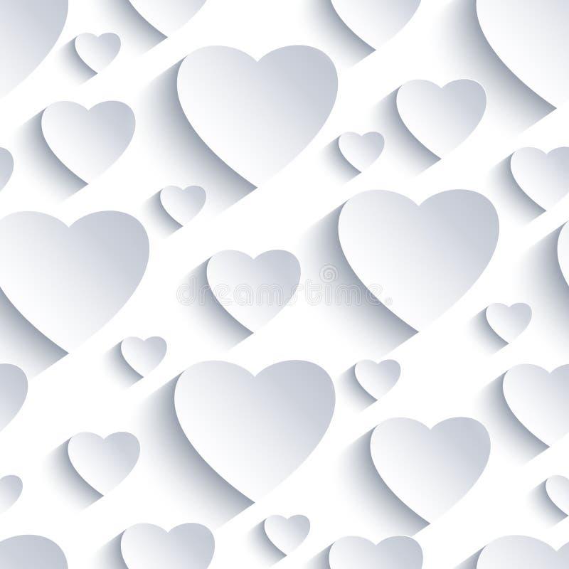 与白灰色3d心脏的华伦泰无缝的背景 向量例证