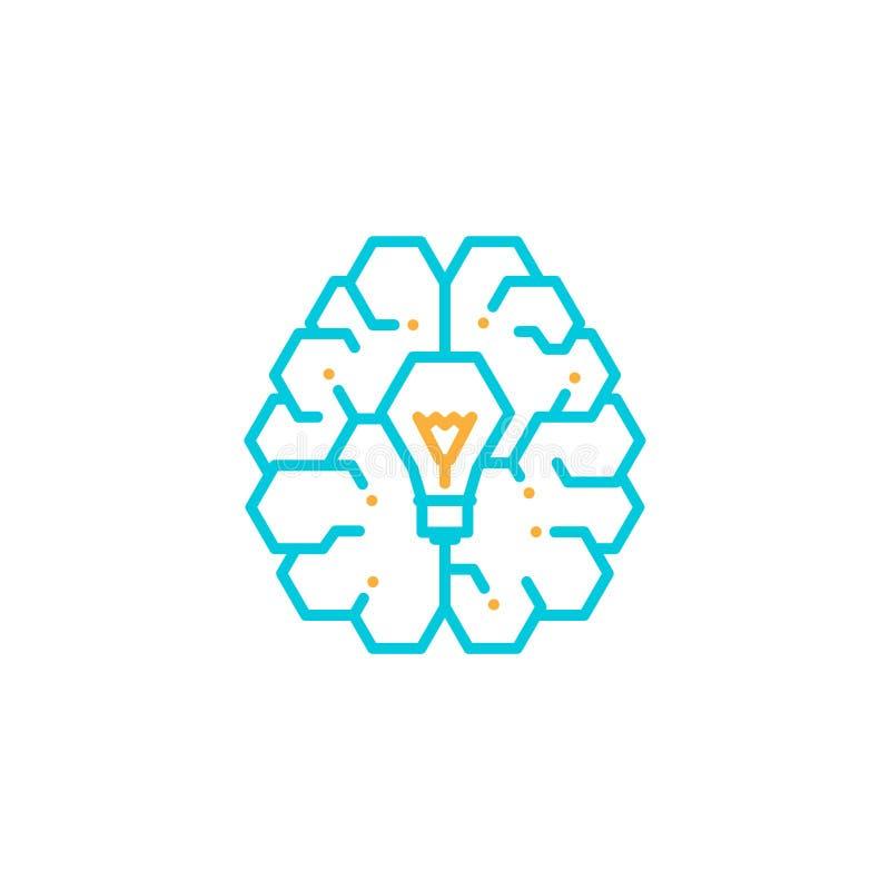 与白炽光电灯泡标志,创造性的橙色想法概念编辑可能的冲程设计的例证的顶面脑子商标象灰色和 皇族释放例证