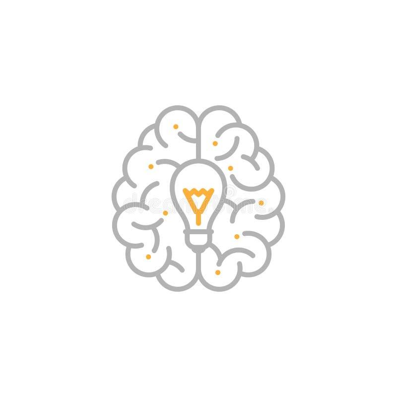 与白炽光电灯泡标志,创造性的橙色想法概念编辑可能的冲程设计的例证的顶面脑子商标象灰色和 向量例证