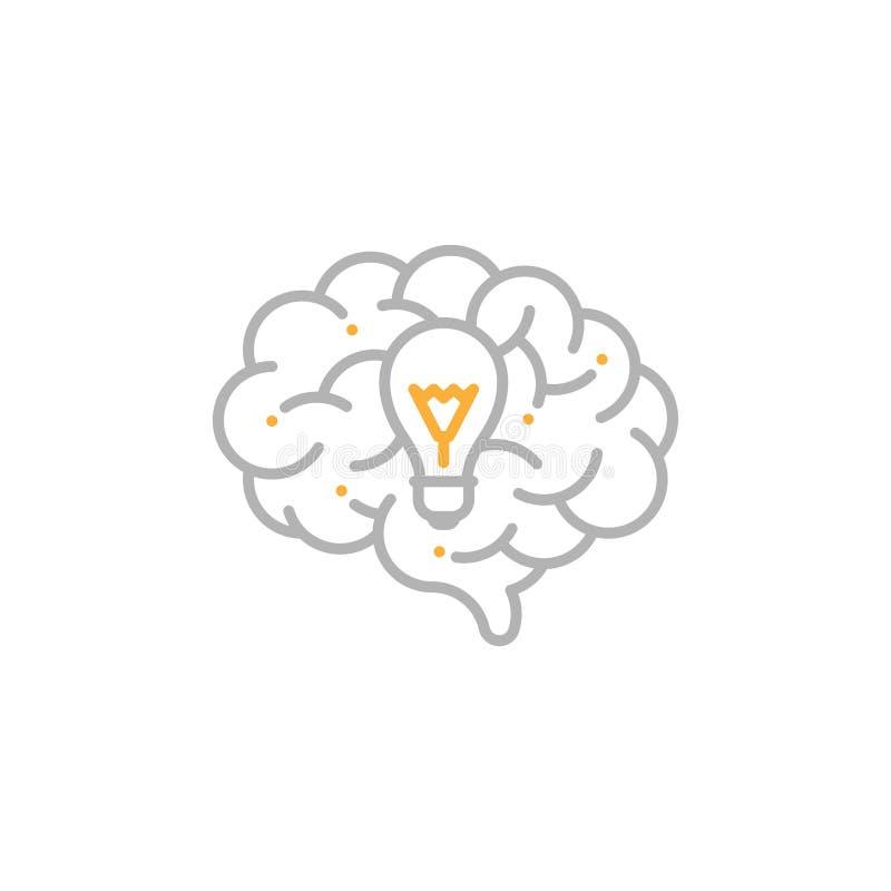 与白炽光电灯泡标志,创造性的灰色想法概念编辑可能的冲程设计的例证的旁边脑子商标象和 皇族释放例证