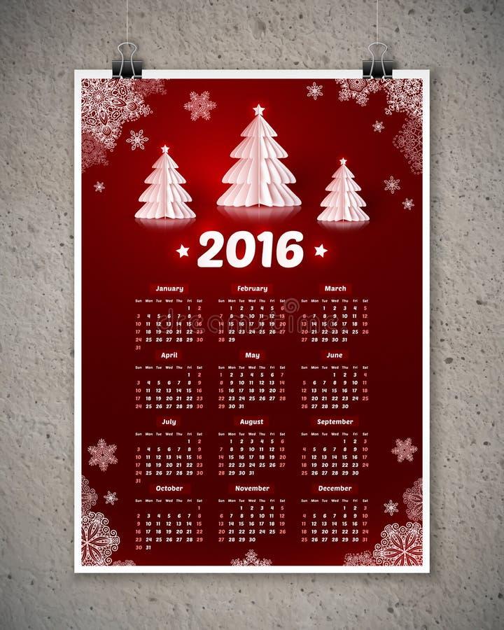 与白皮书的深红2016新年日历 皇族释放例证