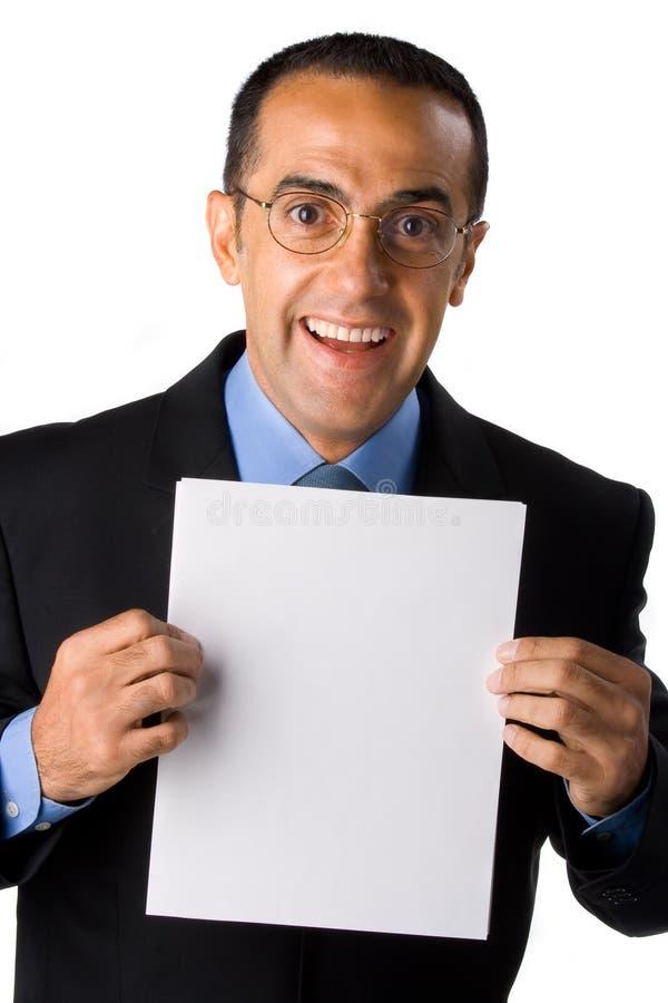 与白纸的生意人 库存照片