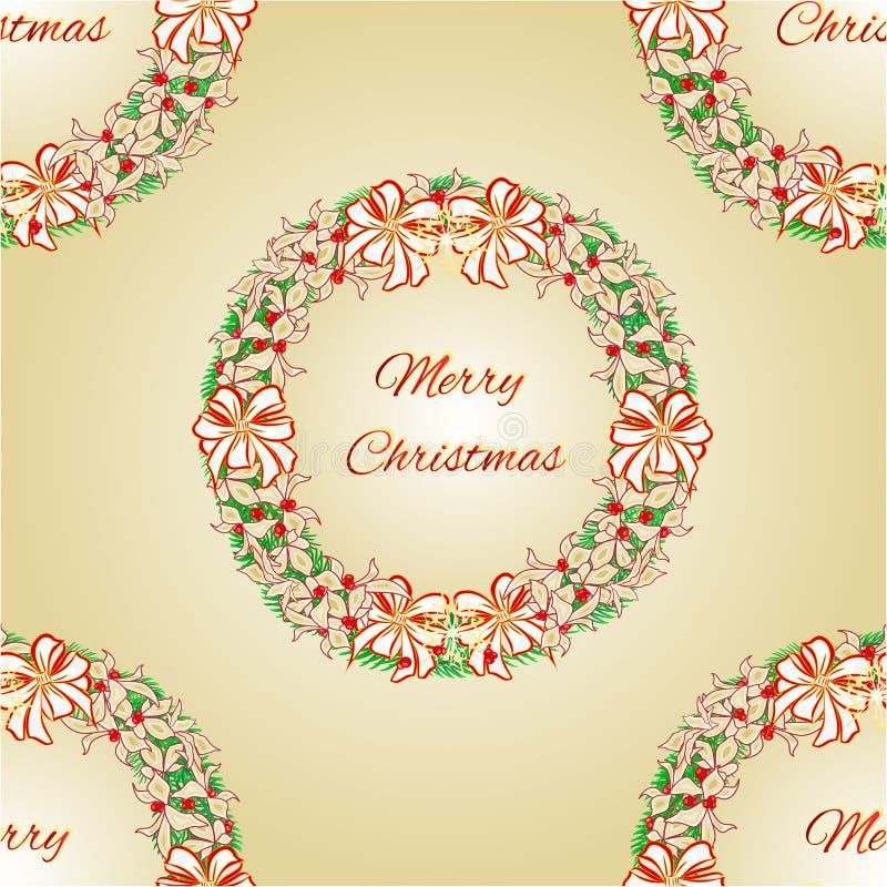 与白色丝带和一品红传染媒介的无缝的纹理圣诞快乐花圈 皇族释放例证