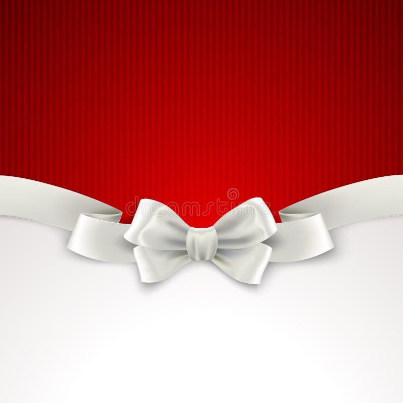与白色丝绸弓的红色圣诞节背景 向量例证