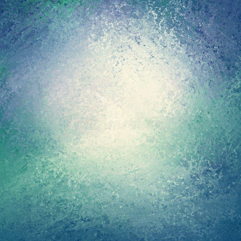 与白色中心和看起来象水或挥动边界的被擦的葡萄酒难看的东西背景纹理的蓝色和绿色背景 免版税库存照片