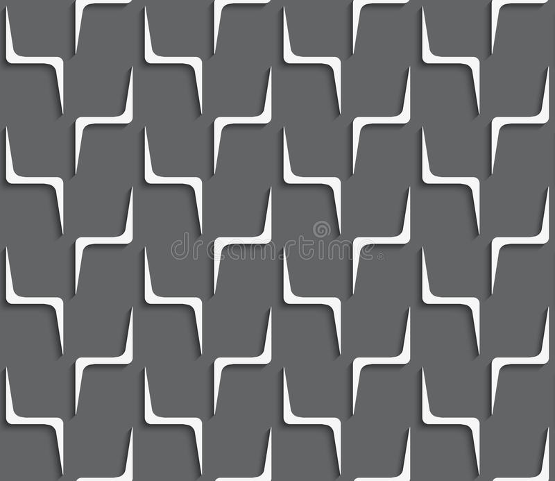 与白色之字形的几何装饰品在深灰塑造 库存例证