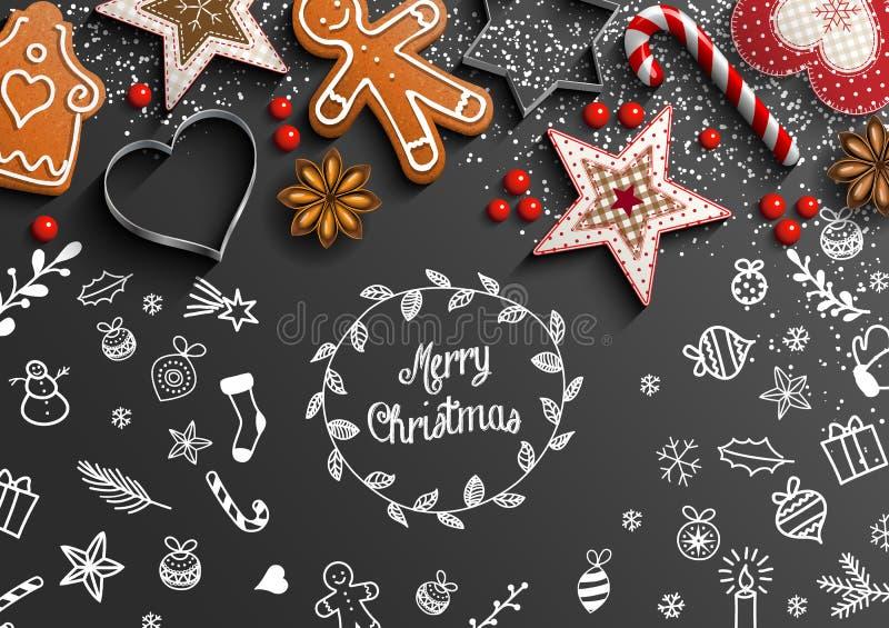 与白色乱画和装饰的圣诞节题材 向量例证