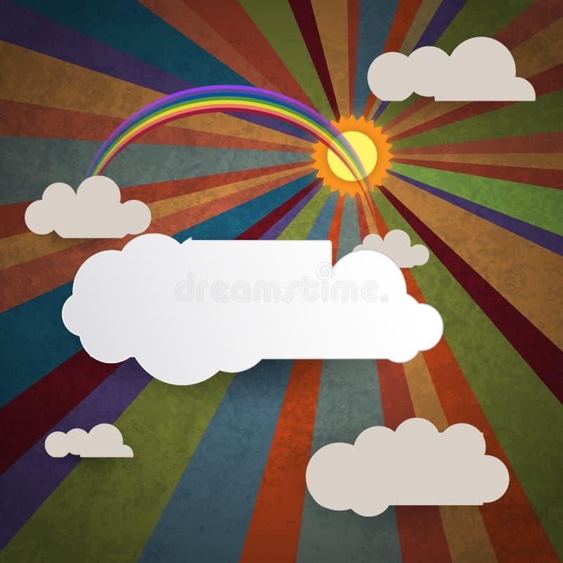 与白色云彩难看的东西的抽象天空背景被构造的 库存例证