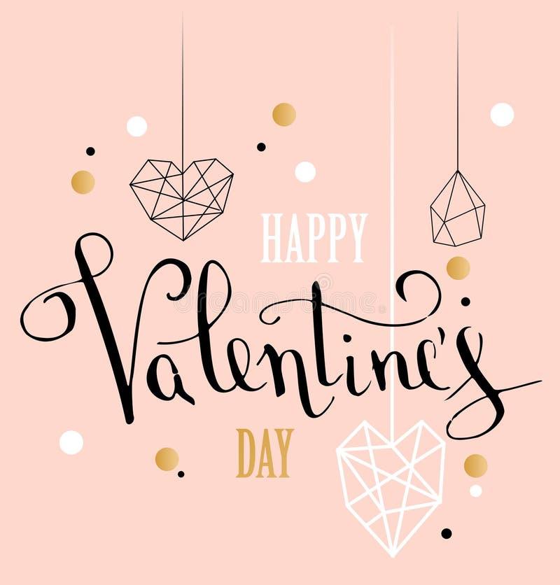 与白色低多样式心脏形状的愉快的情人节爱贺卡在金黄闪烁背景中 免版税库存照片