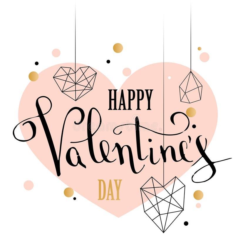 与白色低多样式心脏形状的愉快的情人节爱贺卡在金黄闪烁背景中 库存例证