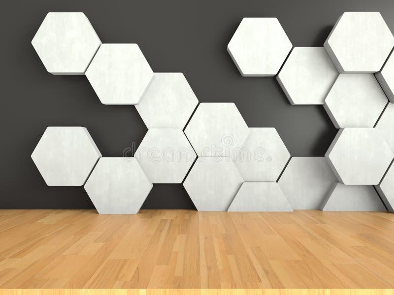 与白色六角形样式的木地板在黑暗的墙壁背景, 3D翻译 皇族释放例证