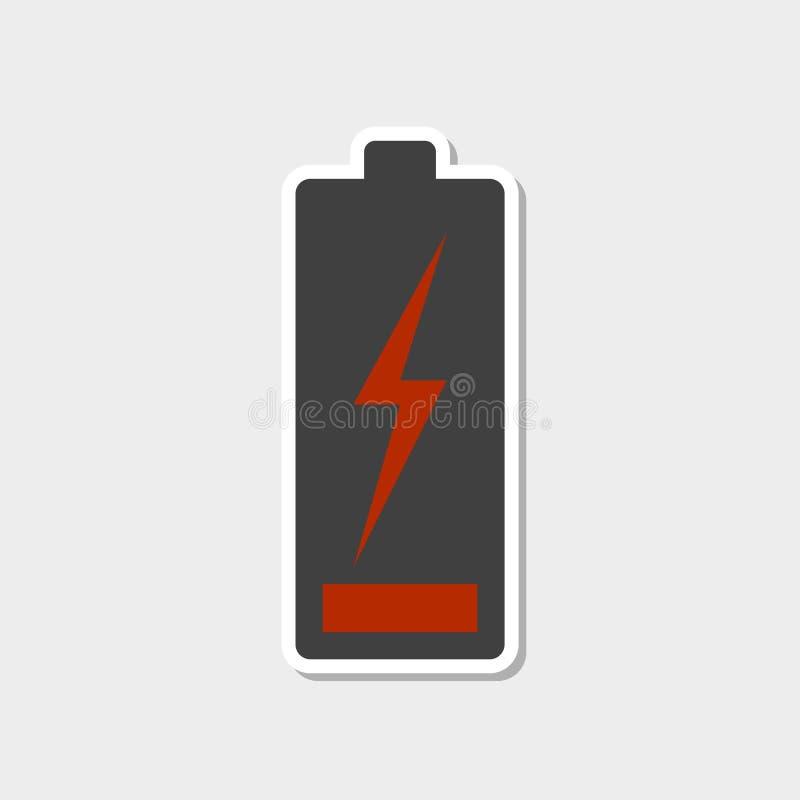 与白色冲程的低电池象 贴纸样式 r 皇族释放例证