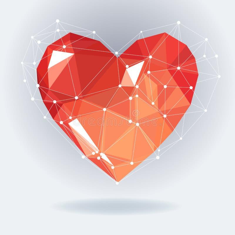 与白色分子结构的低多心脏 也corel凹道例证向量 抽象多角形心脏 背景爱红色玫瑰色符号白色 向量例证