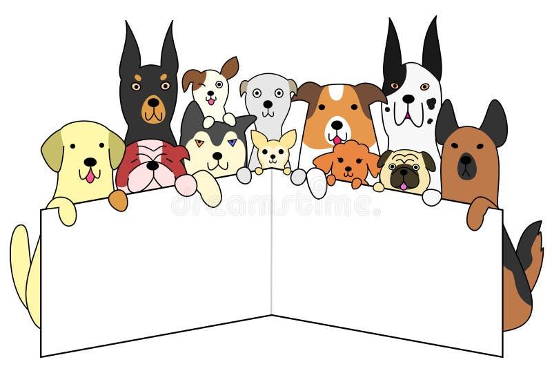 与白色卡片的狗 向量例证