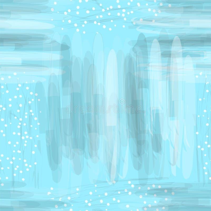 与白色和灰色污点和条纹的无缝的水彩样式在淡色的蓝色背景 皇族释放例证