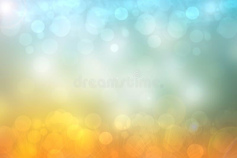 与白色和蓝色照亮的bokeh圈子的摘要金黄欢乐背景纹理 美好的纹理 皇族释放例证