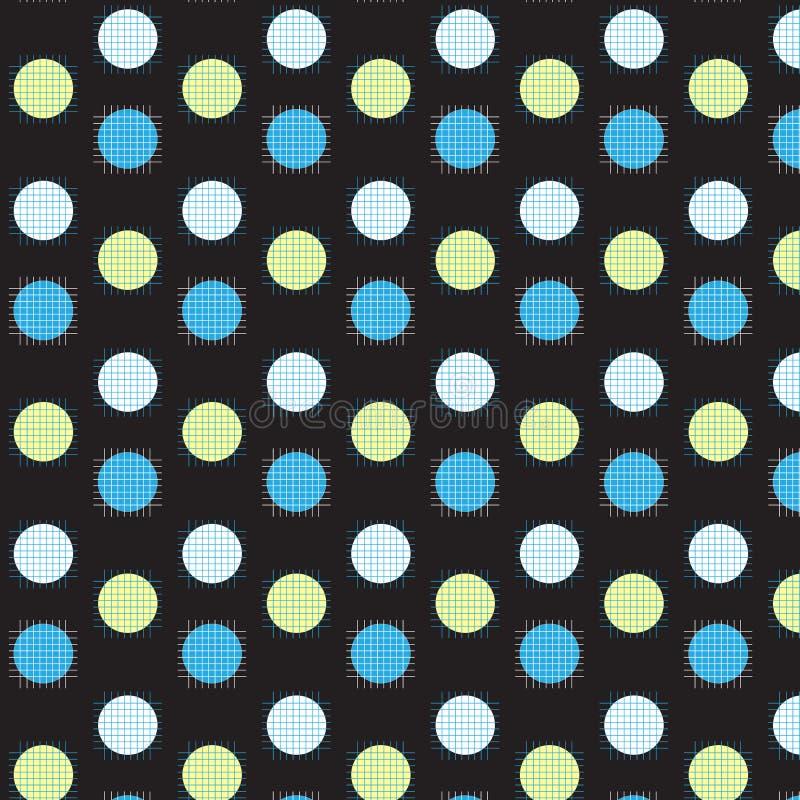 与白色和蓝色网格线的白色黄色和蓝色圈子 向量例证