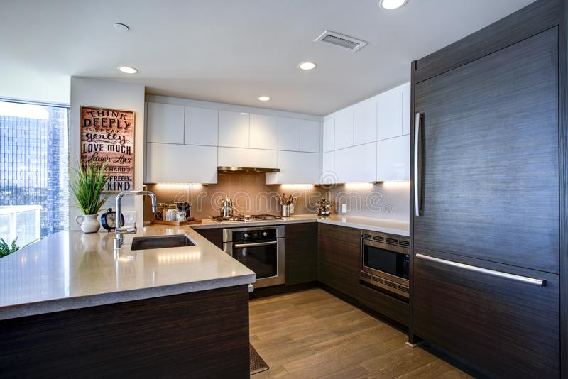 与白色和黑口音的现代宽敞厨师` s厨房设计 免版税图库摄影