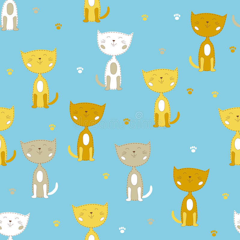 与白色和黄色逗人喜爱的小的猫的无缝的传染媒介样式 皇族释放例证