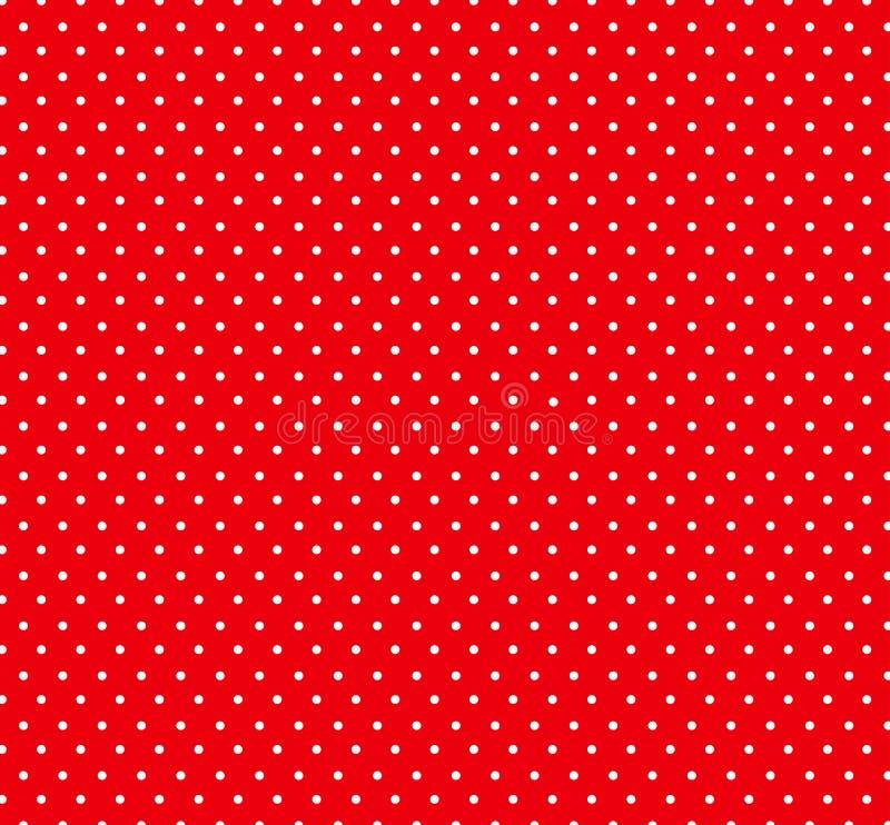 与白色圆点样式的热的红色bakground 孩子的,织品无缝的圈子样式 婴儿送礼会装饰背景 向量例证