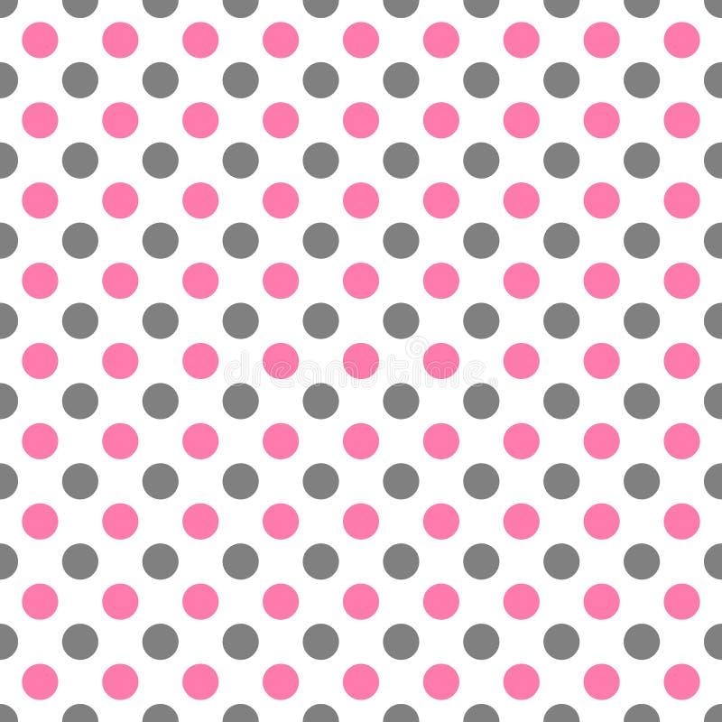 与白色圆点的无缝的样式在两种颜色桃红色和灰色-妇女彩色插图 库存例证