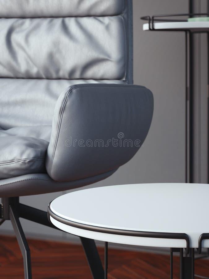 与白色圆的咖啡桌的内部 3d翻译 库存例证