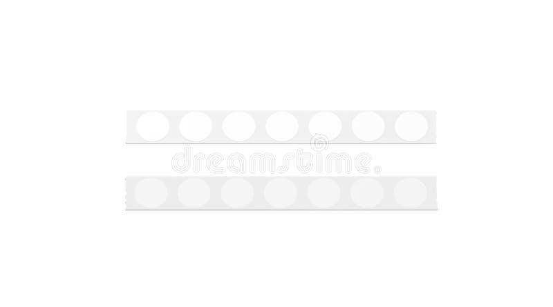 与白色圆的贴纸大模型的空白的银色磁带线, 库存例证