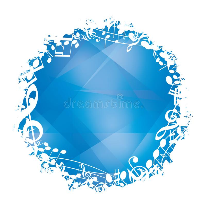 与白色圆的音乐框架的抽象蓝色传染媒介背景 向量例证