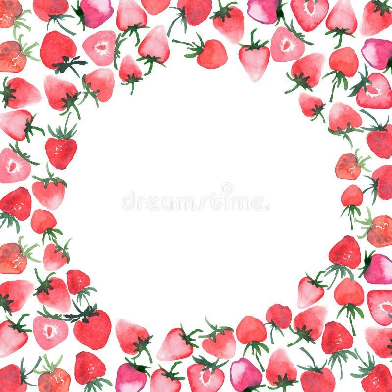与白色圈子水彩手剪影的明亮的水多的草莓背景 皇族释放例证