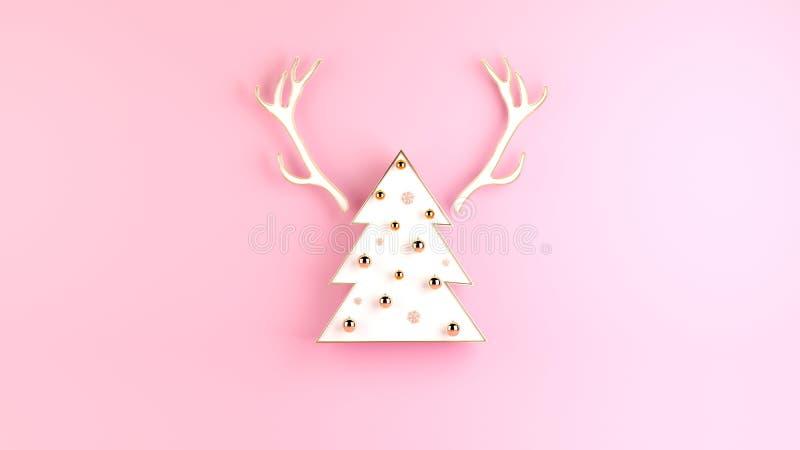 与白色圣诞节快乐树和鹿垫铁的创造性的3d renderind圣诞节背景 向量例证