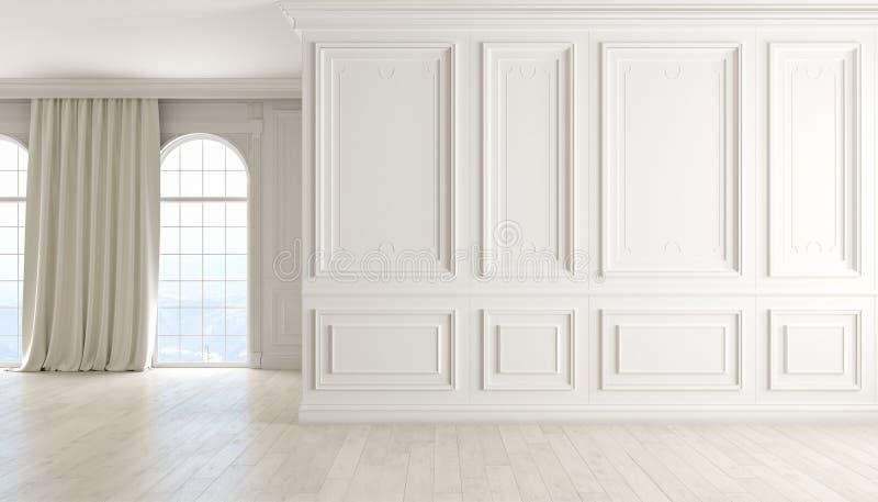 与白色墙壁、木地板、窗口和帷幕的经典空的内部 库存例证