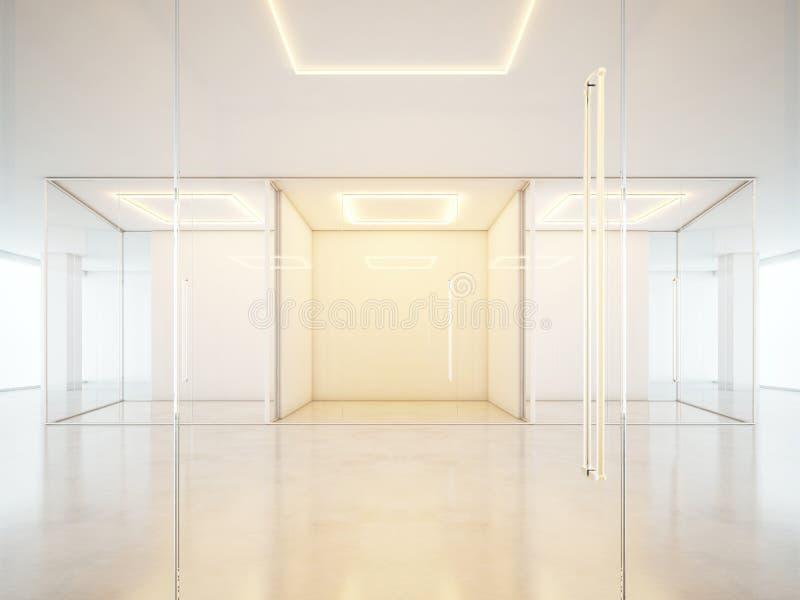 与白色墙壁的办公室内部 图库摄影