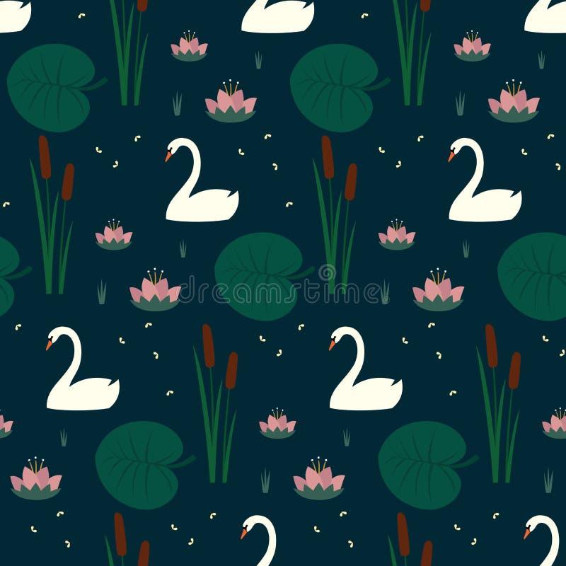 与白色天鹅、荷花、纸莎草和叶子的时髦无缝的样式在深蓝背景 向量例证