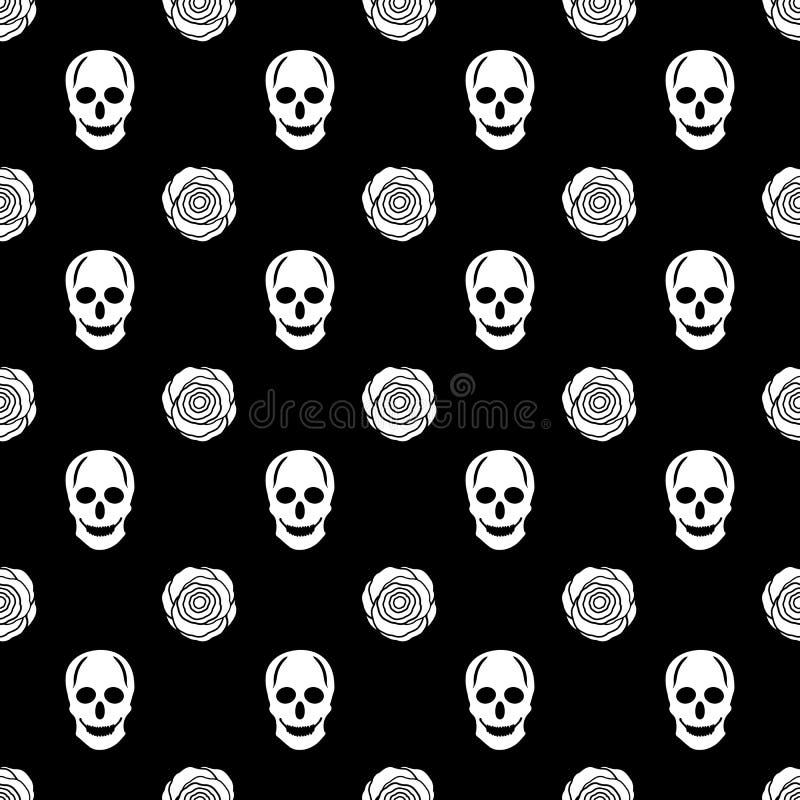 与白色头骨和玫瑰的无缝的样式在黑backgr 库存例证