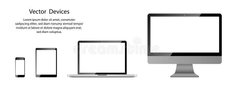 与白色屏幕的现实电话、片剂、膝上型计算机和计算机显示器在空白的背景 向量例证